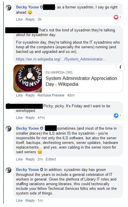 Screenshot of a FB comment thread, with names blocked out except for Becky. The comment thread contains someone mansplaining what a true sysadmin is, and a rebuttal from Becky.
